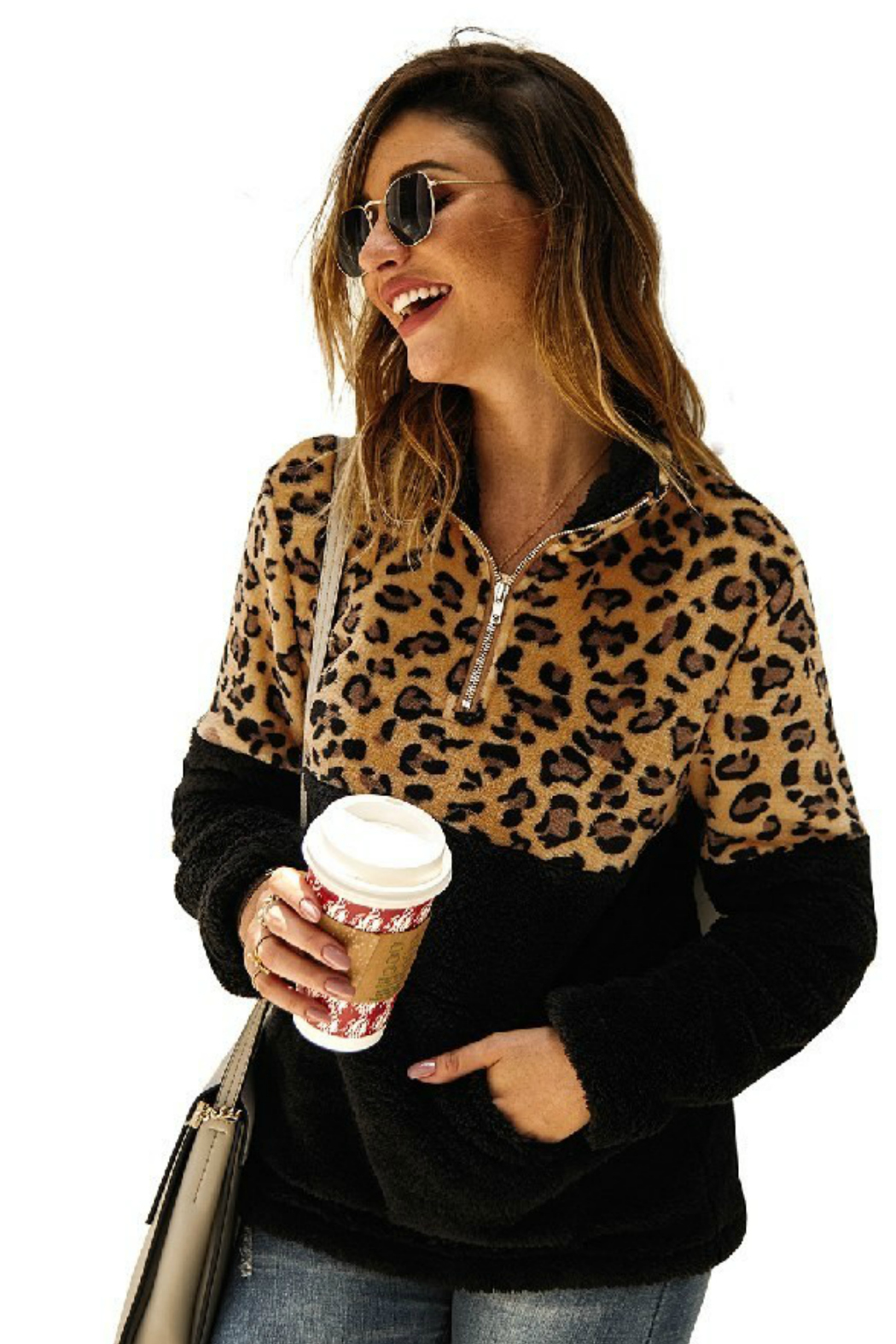 The Birch Tree Leopard Color-Block Fleece - Front Full Image