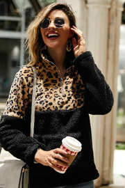 The Birch Tree Leopard Color-Block Fleece - Front cropped