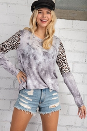 143 Story Leopard Contrast Sleeve Tie Dye Top - Product Mini Image
