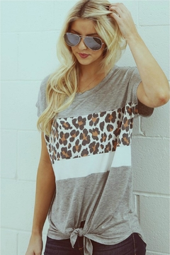 Wanna B Leopard Contrast Top - Product List Image