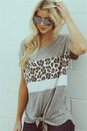 Wanna B Leopard Contrast Top - Product Mini Image