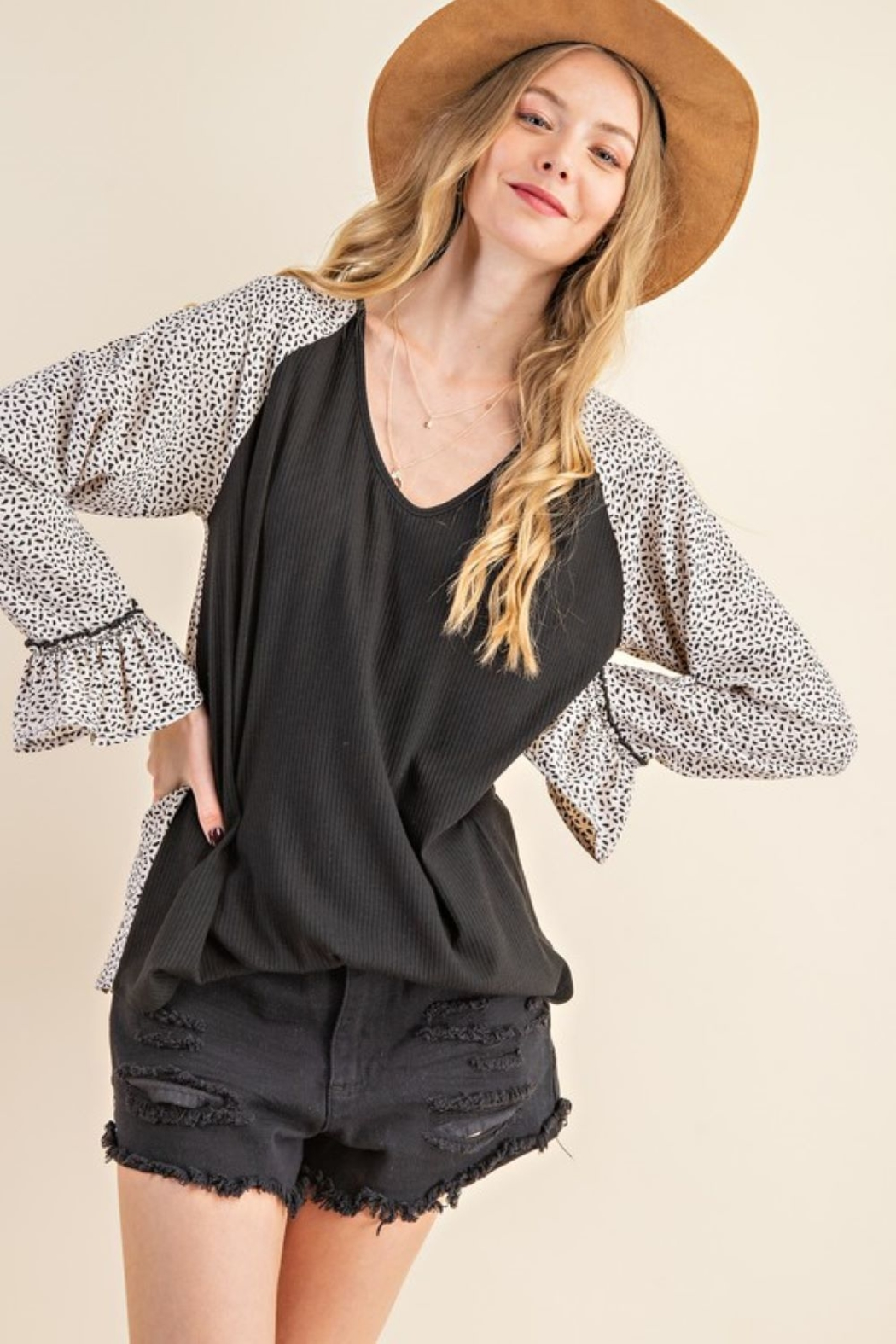 143 Story Leopard Contrast Top with Ruffle Sleeve - Main Image