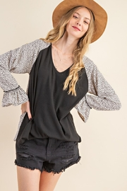 143 Story Leopard Contrast Top with Ruffle Sleeve - Front cropped