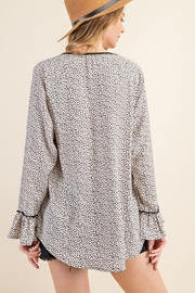 143 Story Leopard Contrast Top with Ruffle Sleeve - Side cropped
