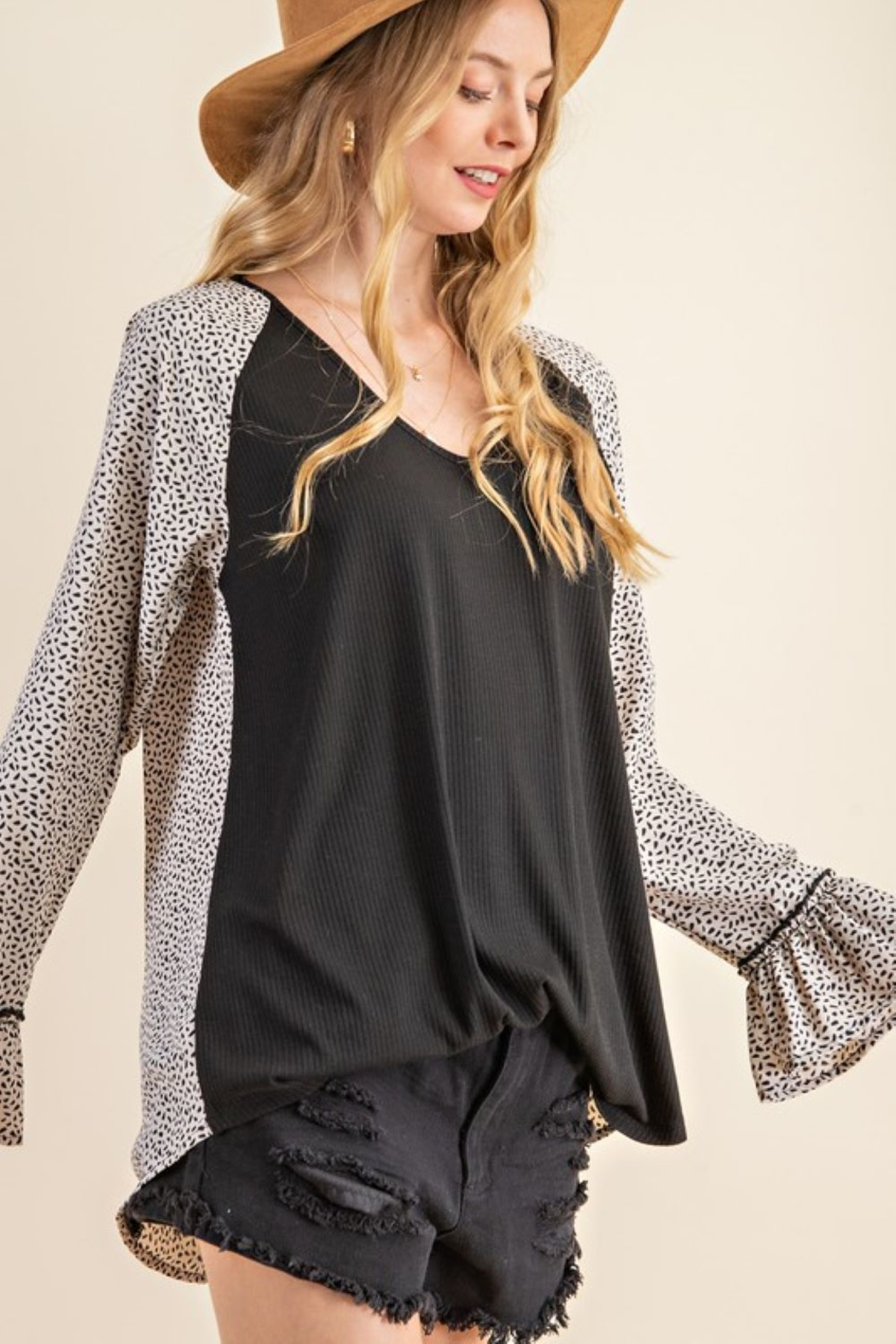 143 Story Leopard Contrast Top with Ruffle Sleeve - Front Full Image