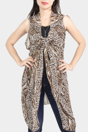 L.I.B. New York Leopard Coverup Vest - Front cropped