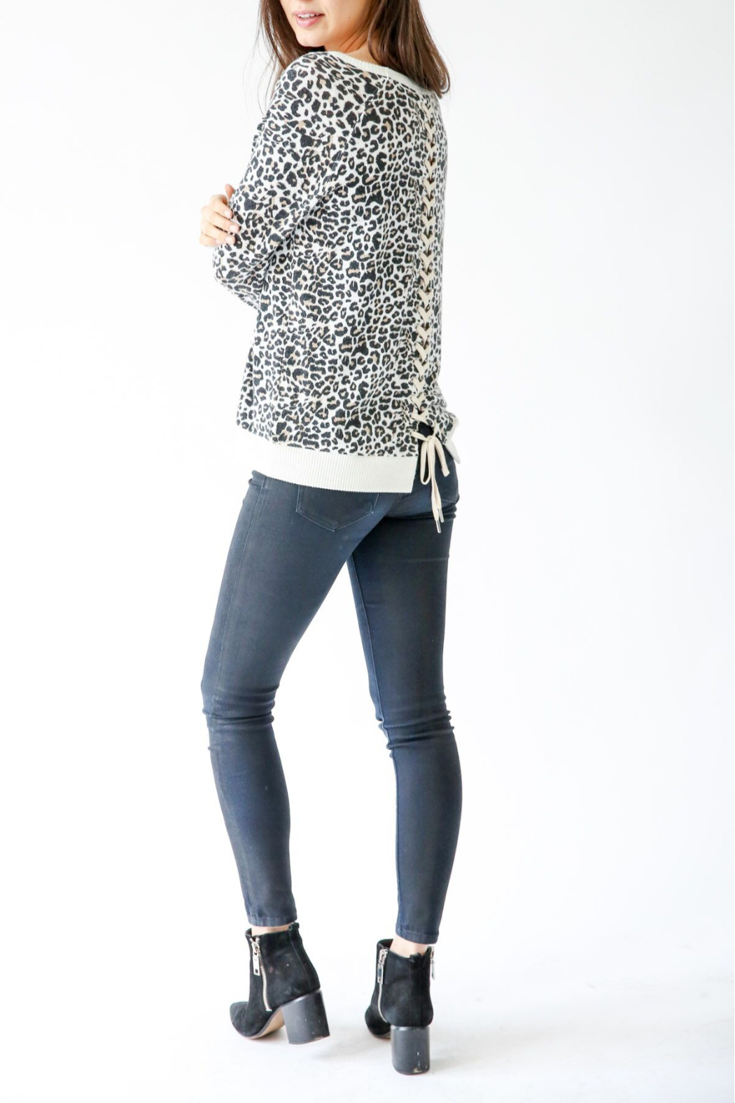Six Fifty Leopard Cozy Pullover w lace up back - Main Image