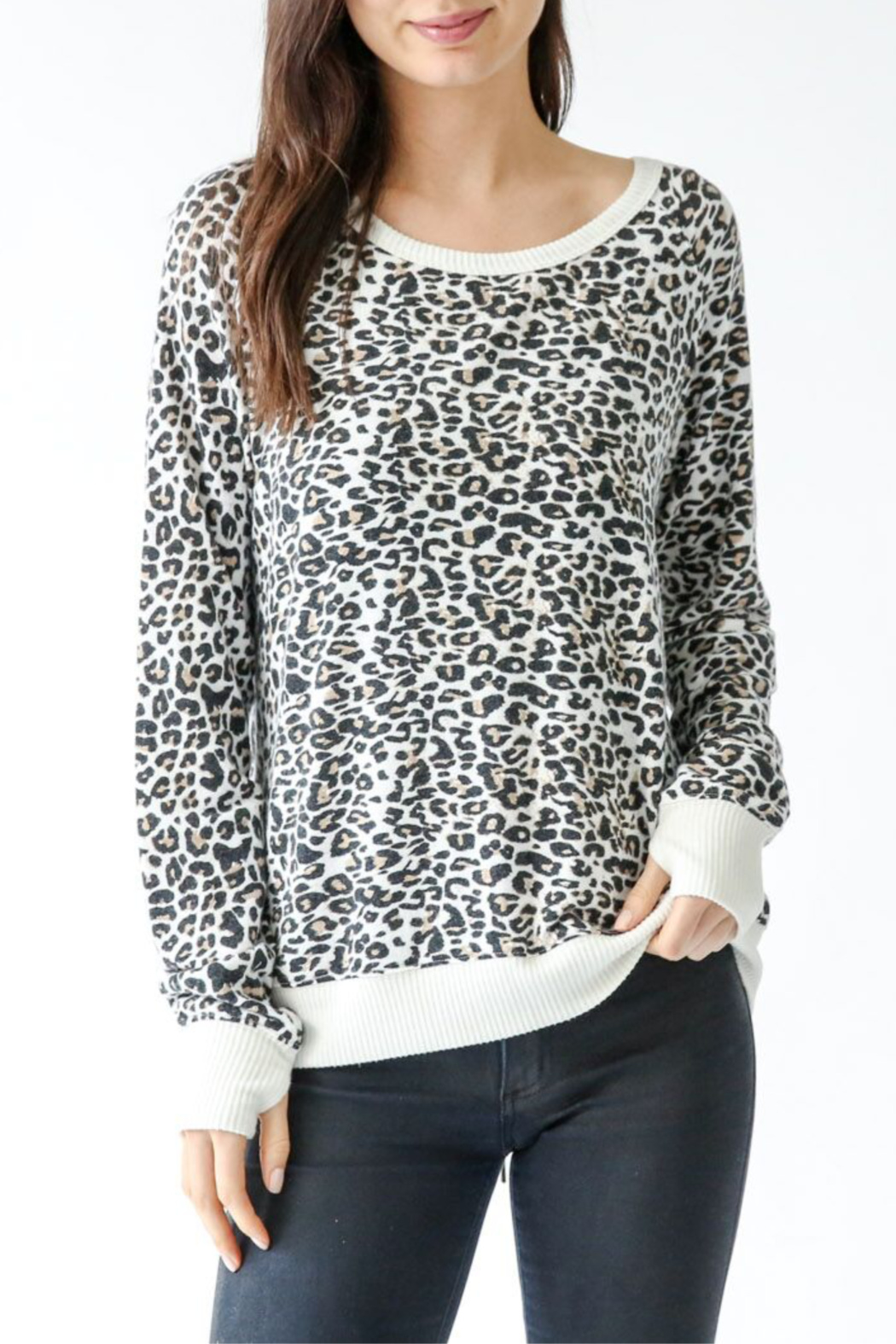 Six Fifty Leopard Cozy Pullover w lace up back - Side Cropped Image