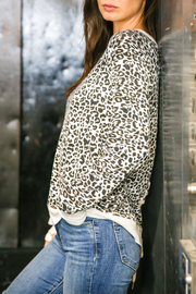 Six Fifty Leopard Cozy Pullover w lace up back - Front full body