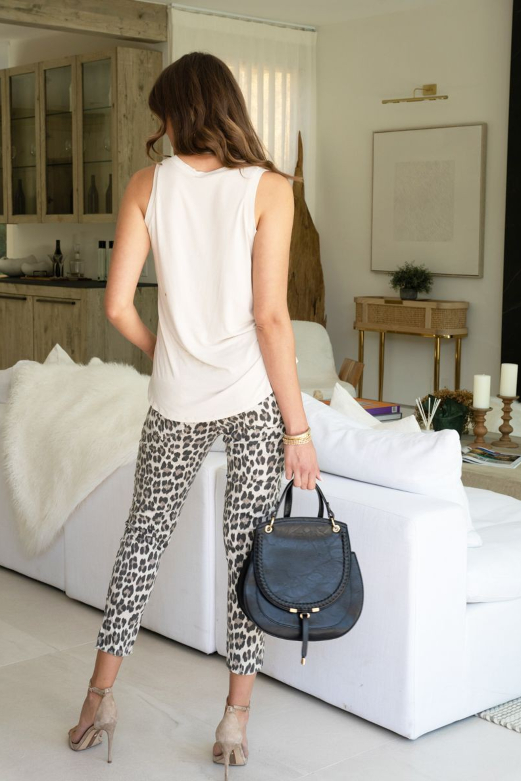 Venti 6 Leopard Crinkle Pant - Back Cropped Image