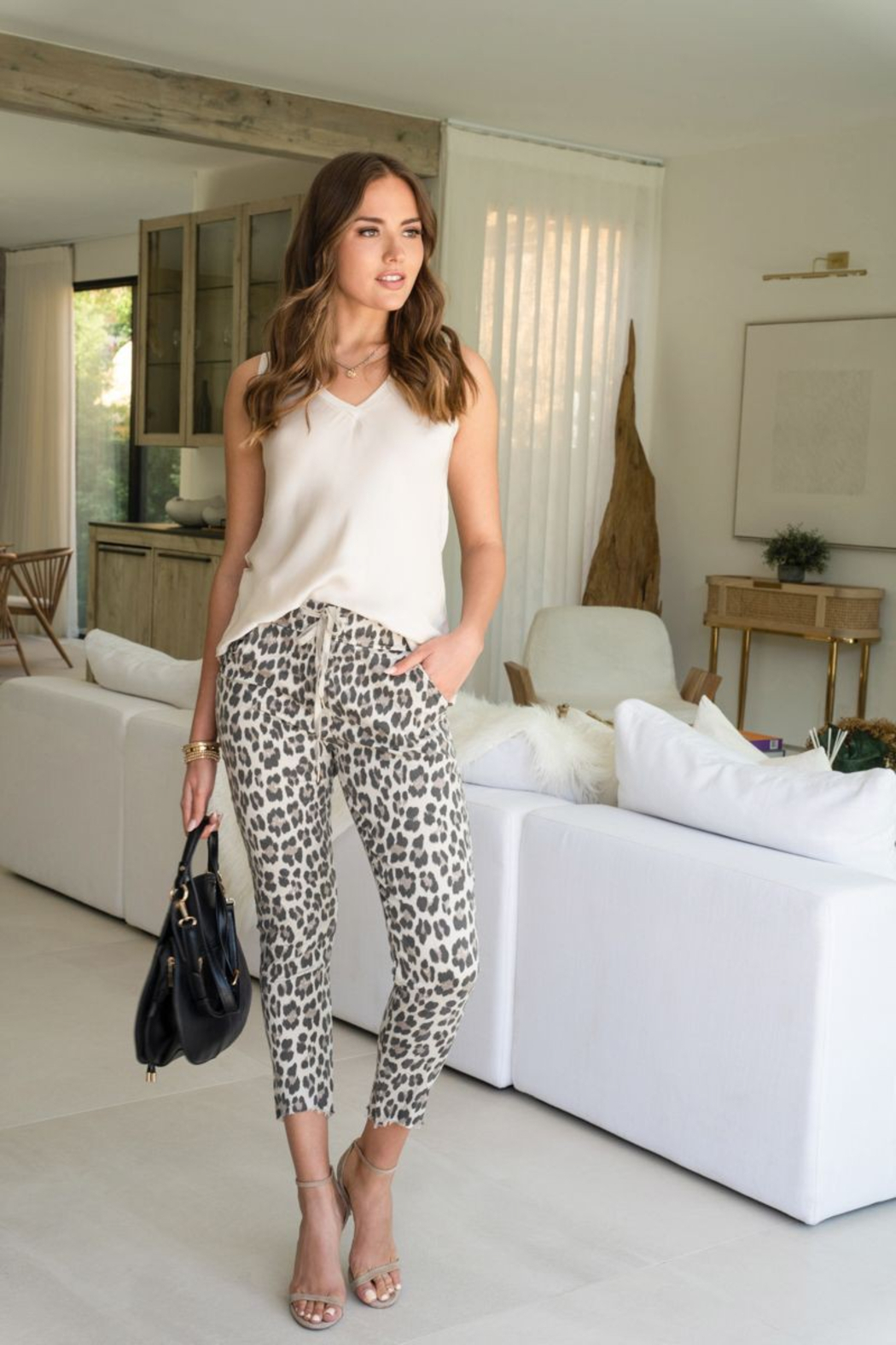 Venti 6 Leopard Crinkle Pant - Front Full Image