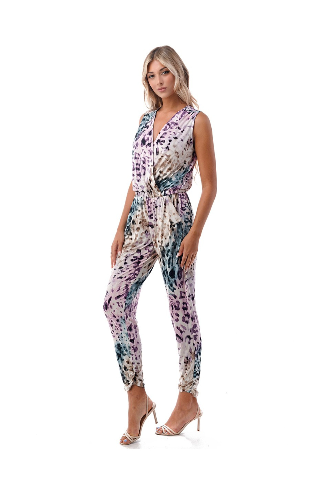 Ariella Leopard Crossover Jumpsuit - Front Full Image