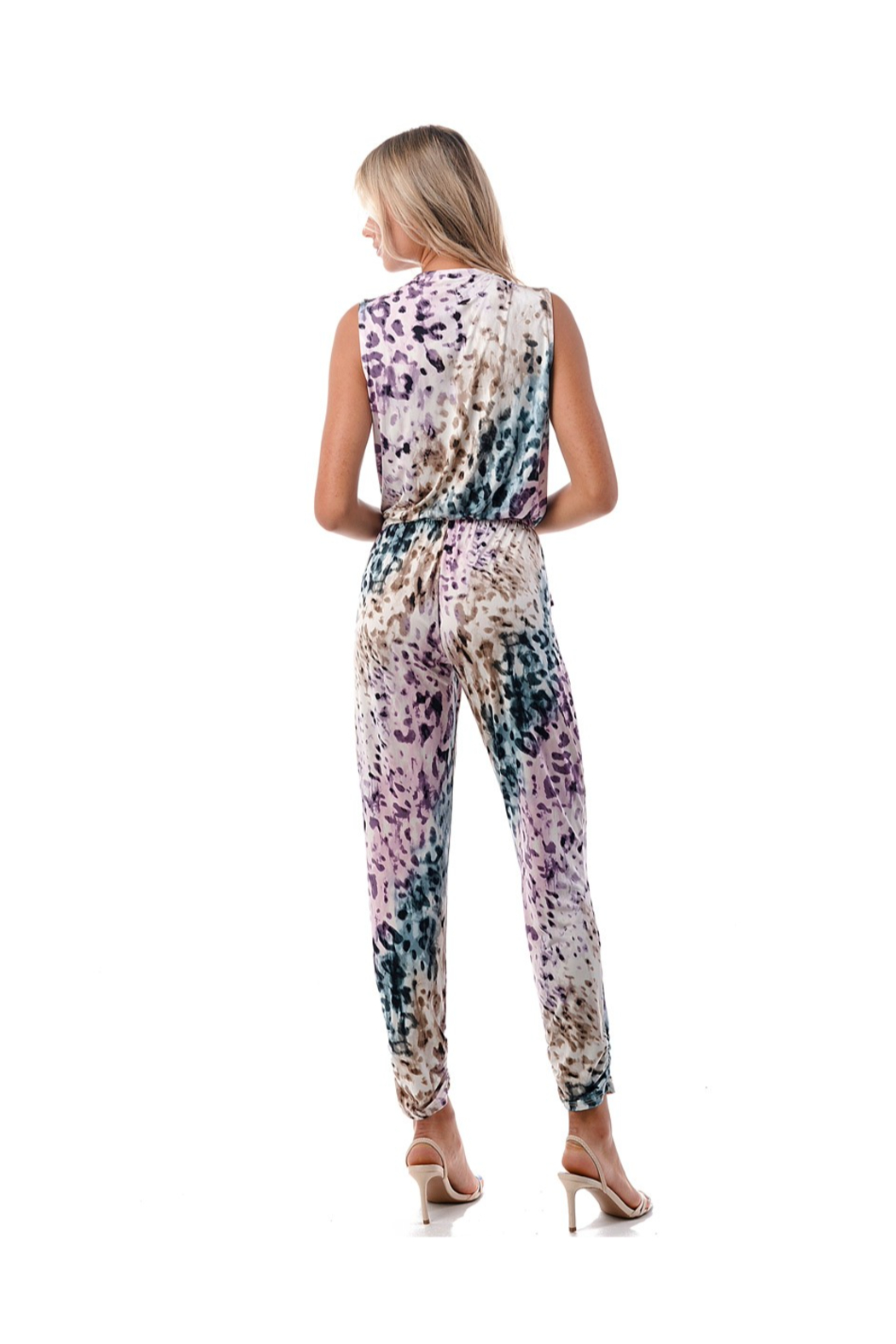 Ariella Leopard Crossover Jumpsuit - Side Cropped Image