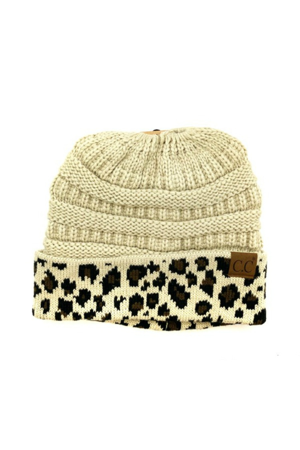 CC Beanie Leopard cuff Beanie Tail - Front Cropped Image