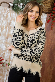 Main Strip Leopard Distressed Vee Neck - Product Mini Image
