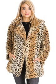Cap Zone Leopard Faux Fur Short Coat - Product Mini Image