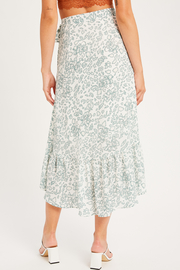 Listicle Leopard/ Floral Print Wrap Skirt - Side cropped