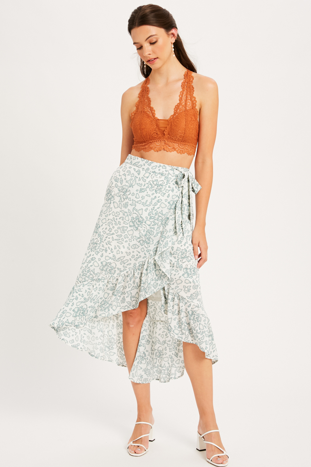 Listicle Leopard/ Floral Print Wrap Skirt - Back Cropped Image