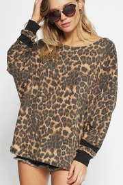 Bibi LEOPARD FRENCH TERRY WIDE NECK TOP - Front full body