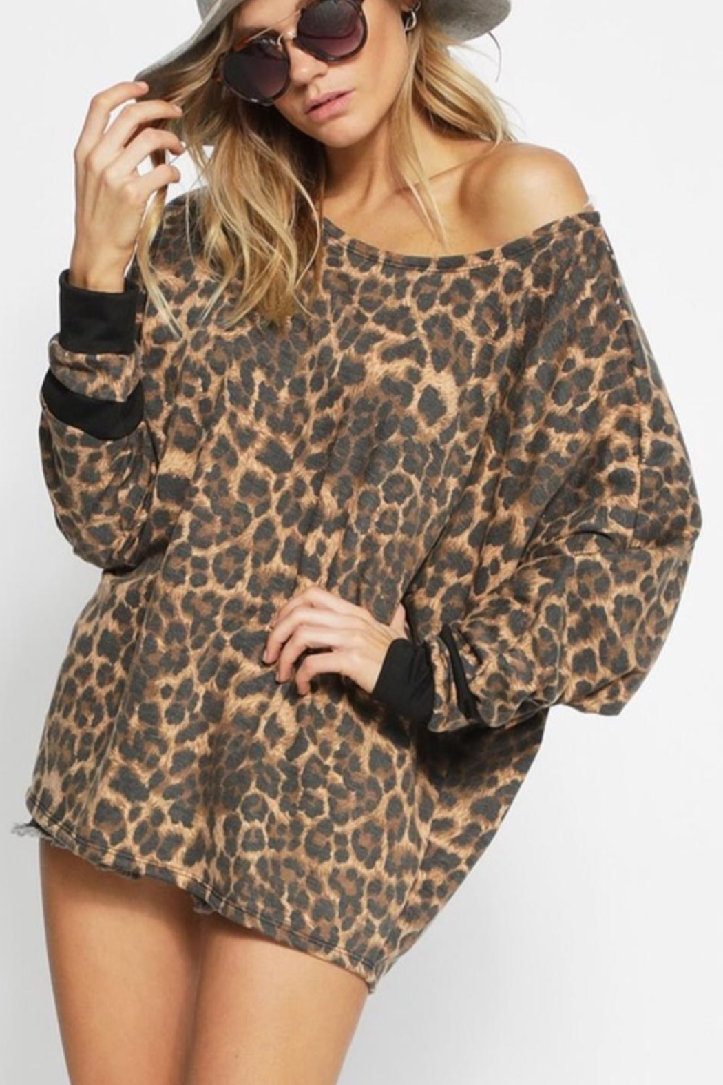 Bibi LEOPARD FRENCH TERRY WIDE NECK TOP - Main Image