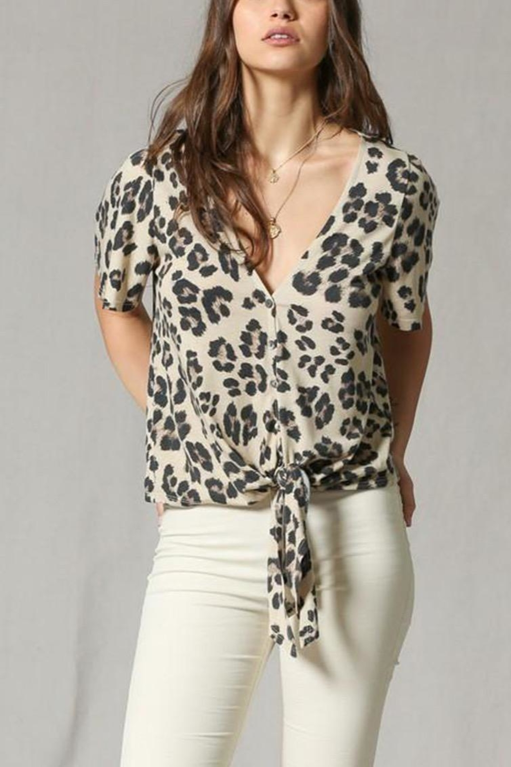 By Together Leopard Front-Tie Top - Main Image