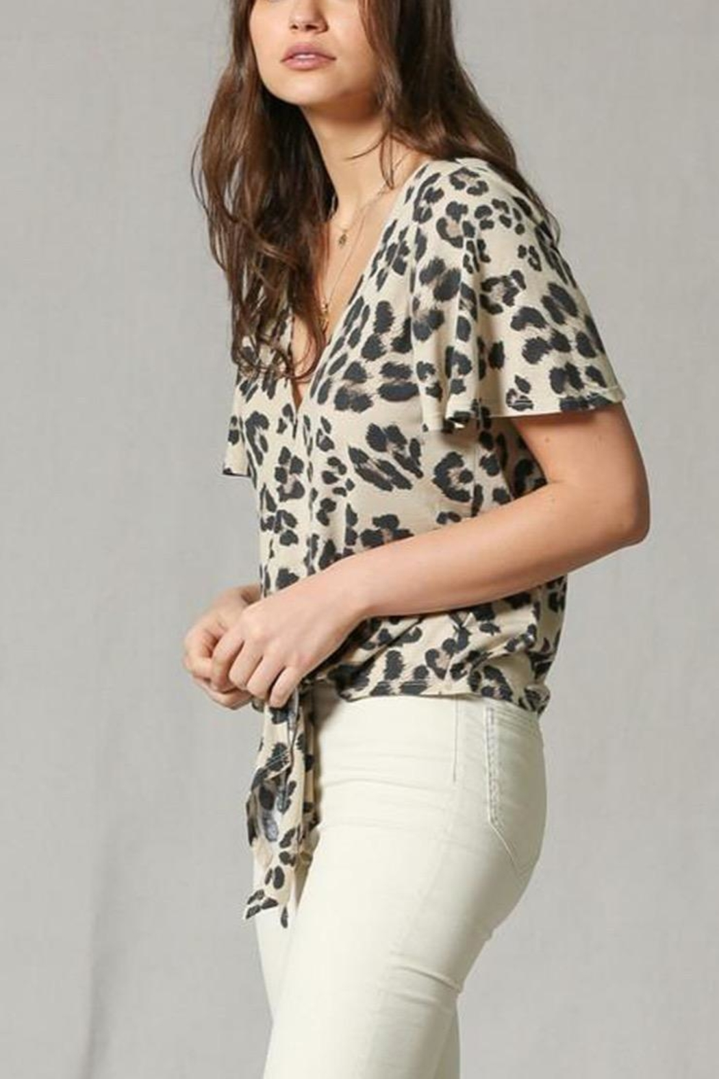 By Together Leopard Front-Tie Top - Front Full Image