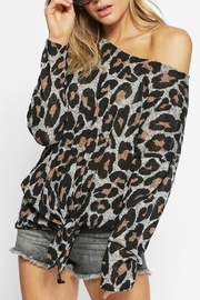 Bibi Leopard Front-Tie Top - Product Mini Image