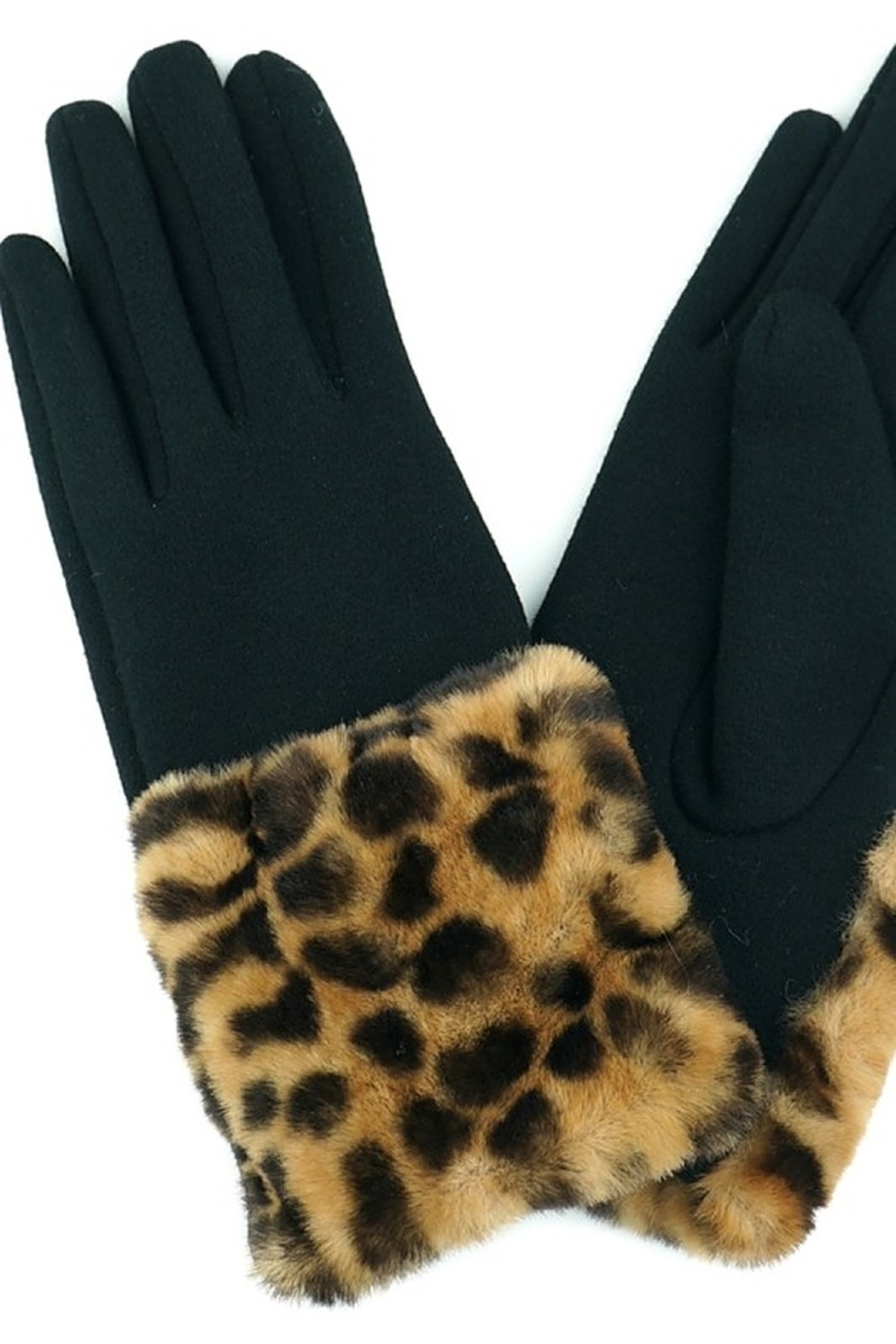 Fashion Unic LEOPARD FUR GLOVES - Front Cropped Image