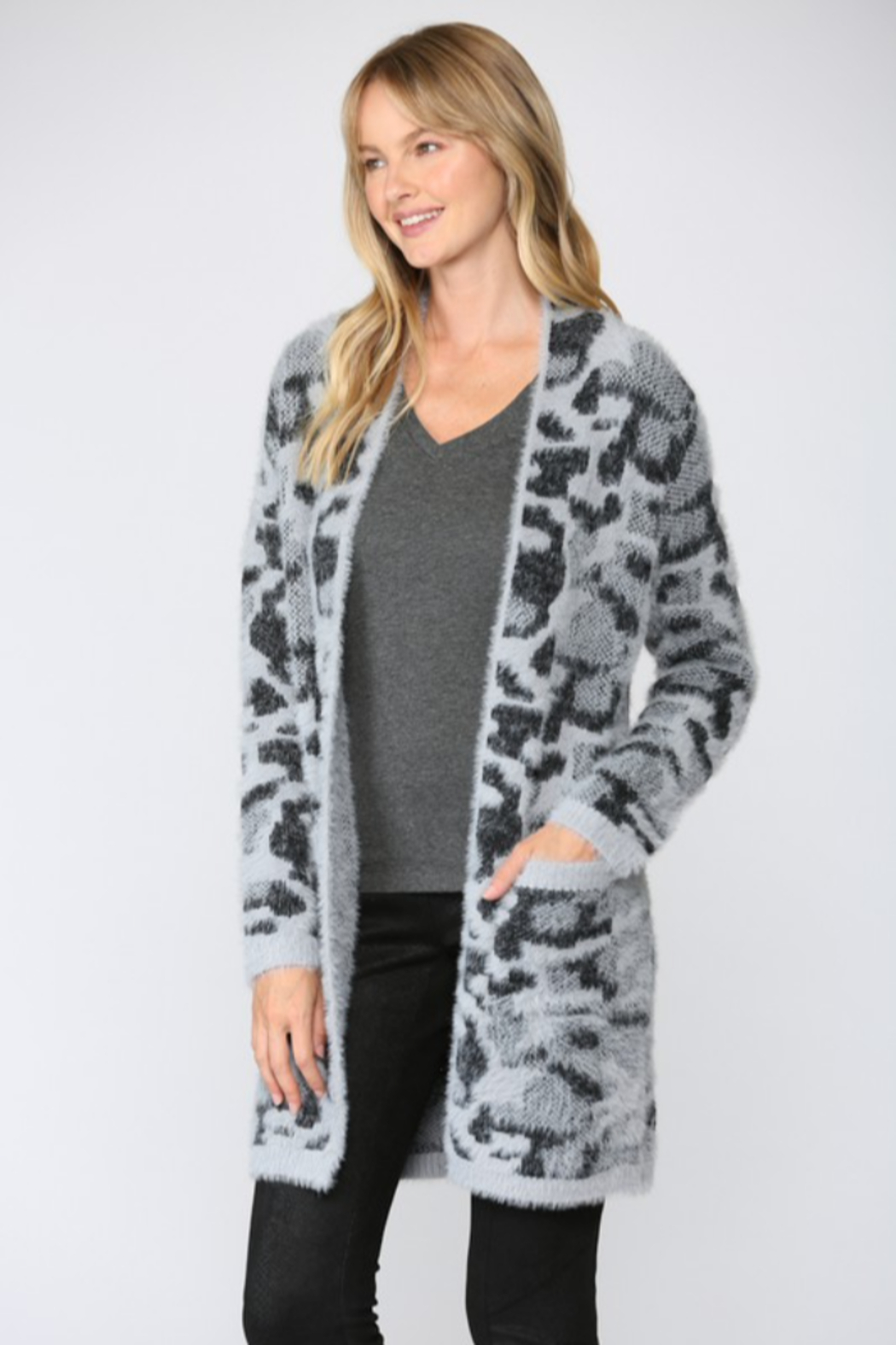 Fate  Leopard Fuzzy Knit Cardigan - Front Full Image