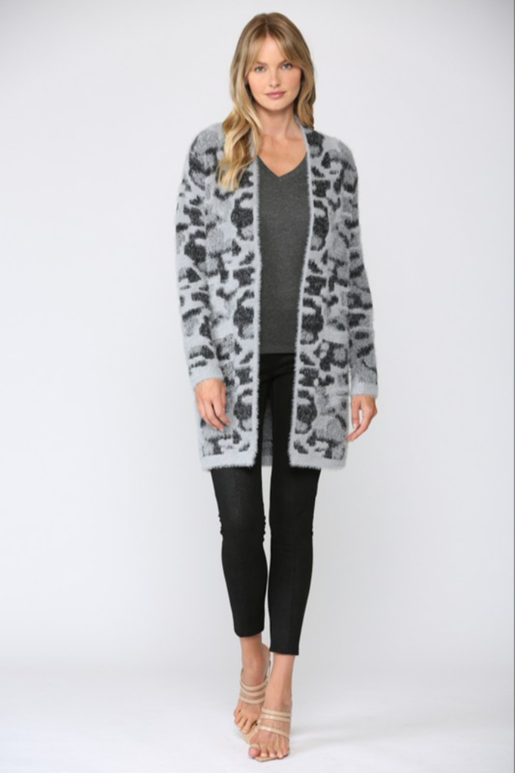 Fate  Leopard Fuzzy Knit Cardigan - Back Cropped Image