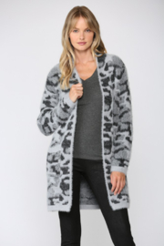 Fate  Leopard Fuzzy Knit Cardigan - Front cropped