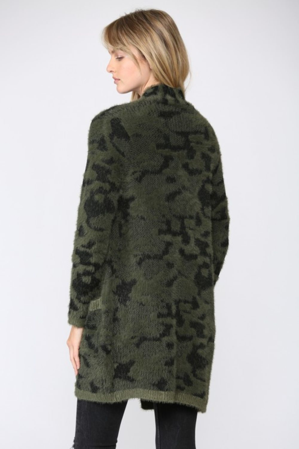 Fate Leopard Fuzzy Knit Cardigan - Side Cropped Image