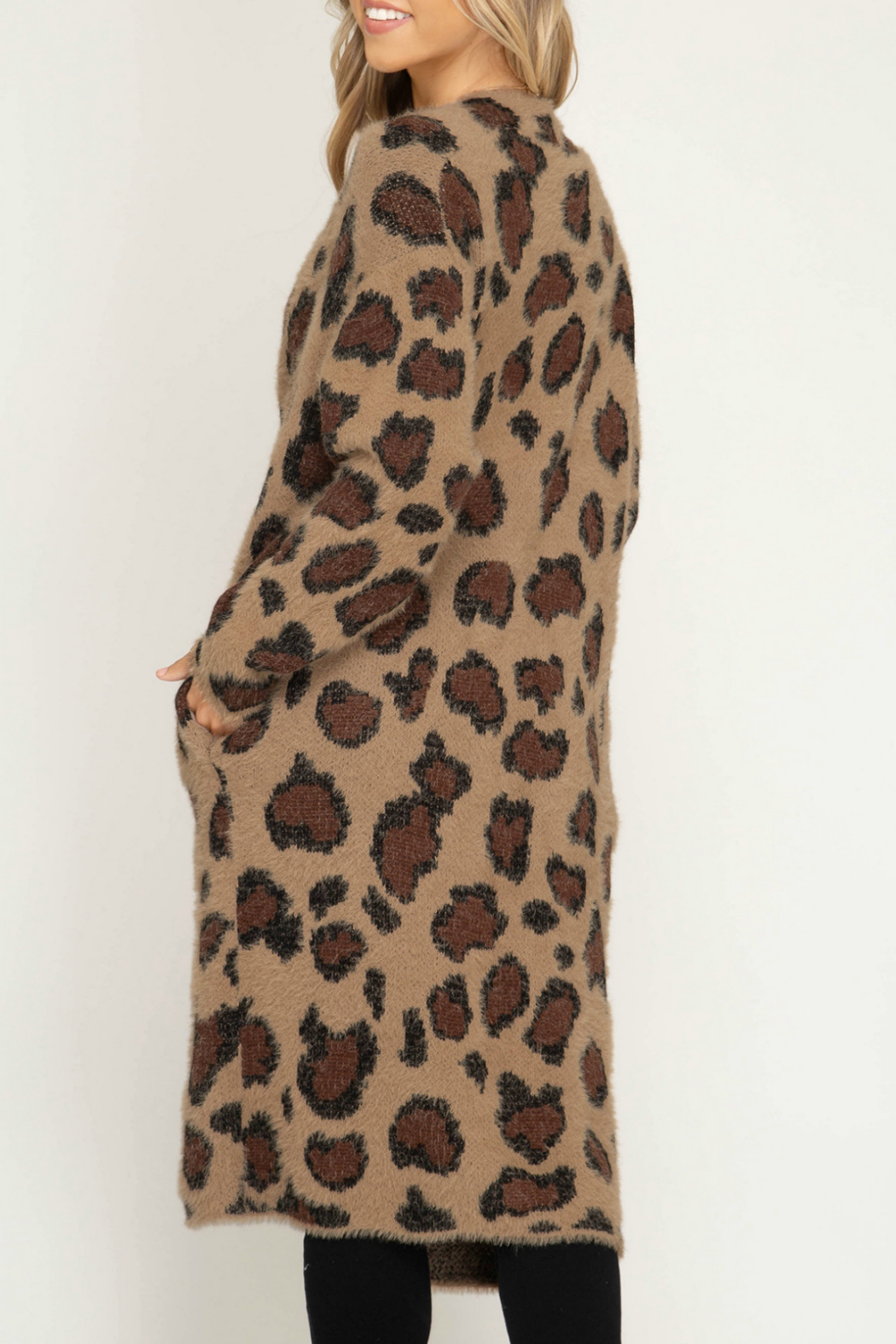 She & Sky  Leopard Fuzzy Sweater Cardigan - Front Full Image