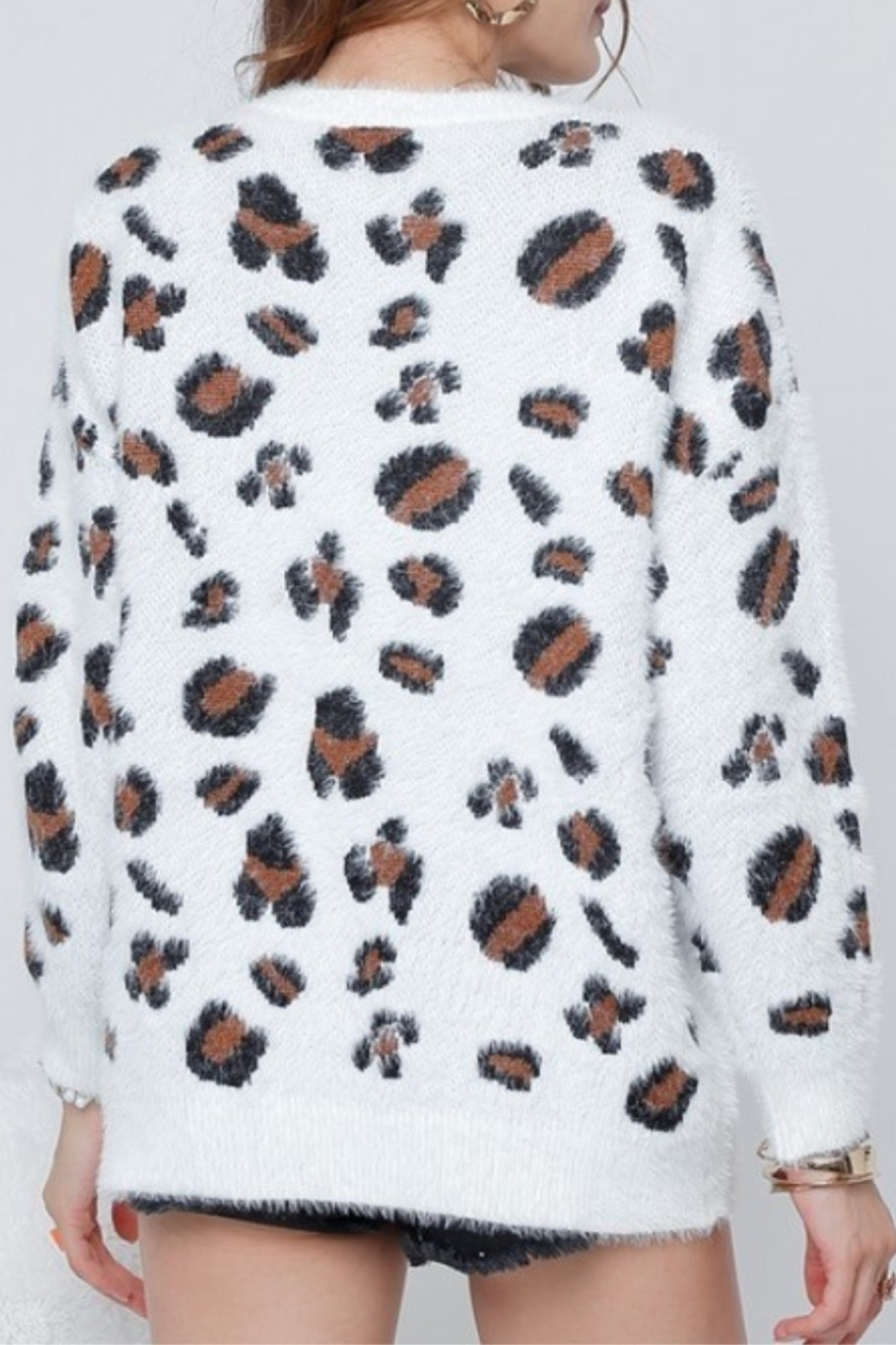 Adora Leopard Fuzzy Sweater - Front Full Image