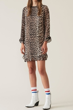 Ganni Leopard Georgette Dress - Product List Image