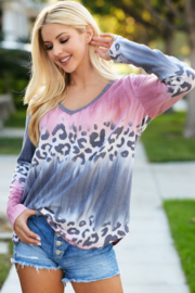Bibi Leopard Gradation Print Knit V Neck Top - Product Mini Image