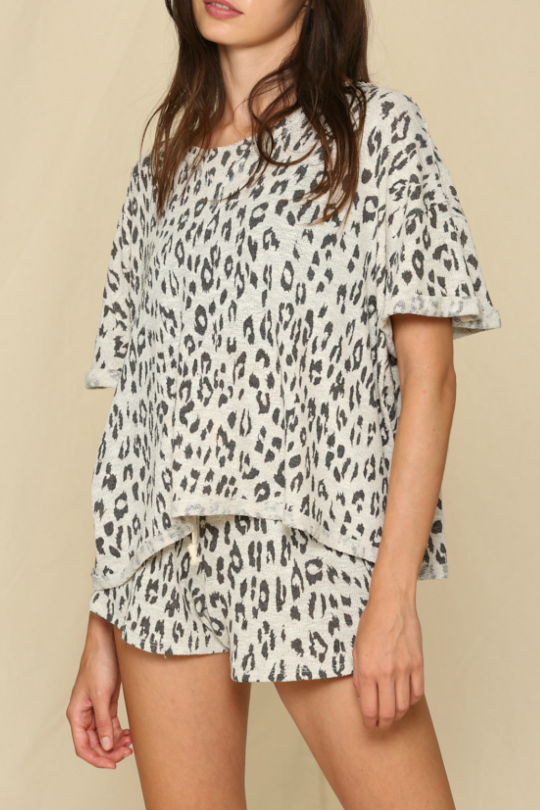 By Together  Leopard Hacci Shorts - Front Full Image