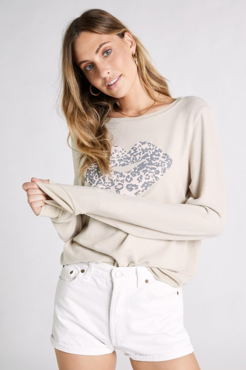 Wildfox Leopard Kiss Baggy Beach Jumper - Side Cropped Image