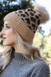 Leto Accessories Leopard Knit Beanie - Product Mini Image