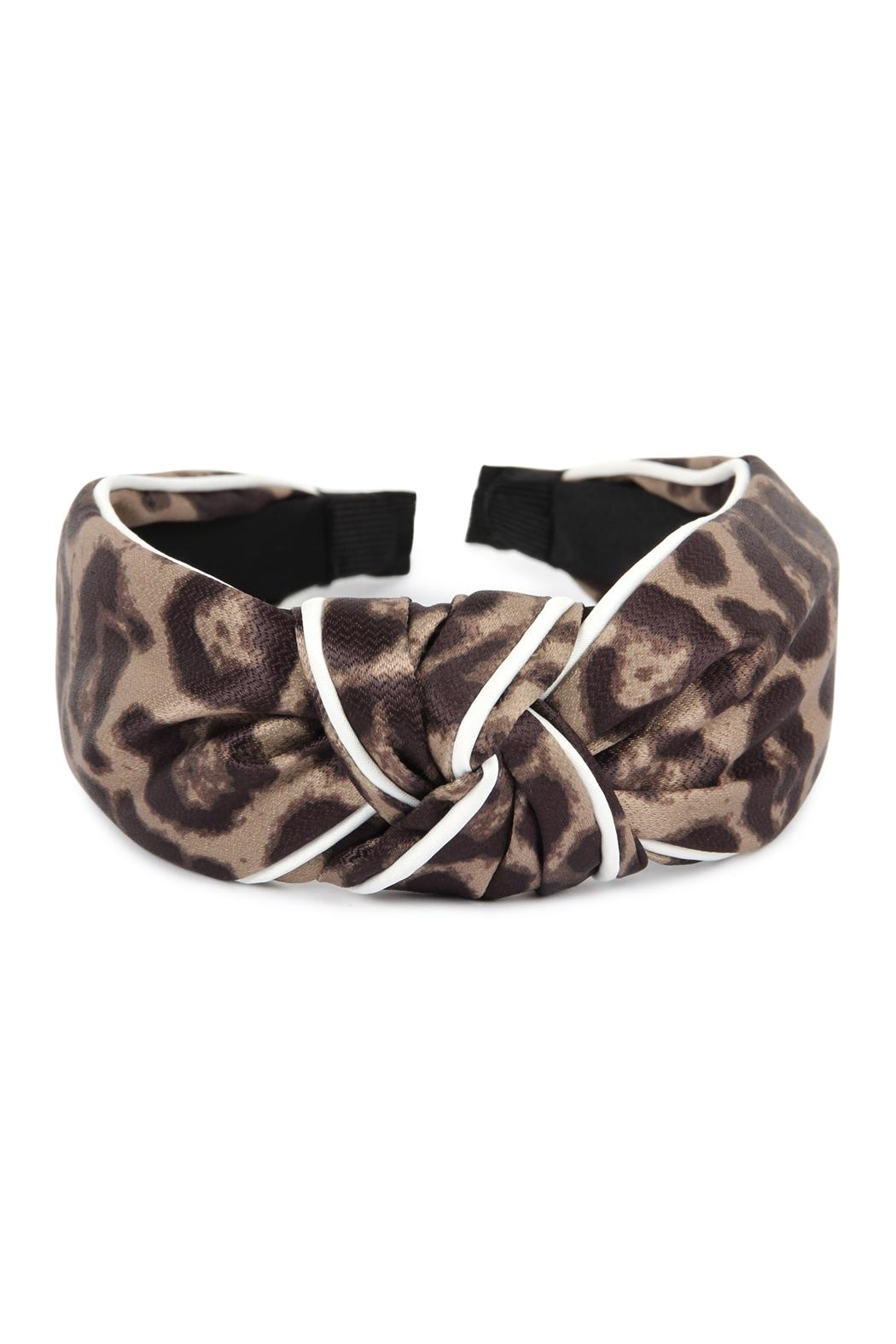 Riah Fashion Leopard Knotted Headband - Front Full Image