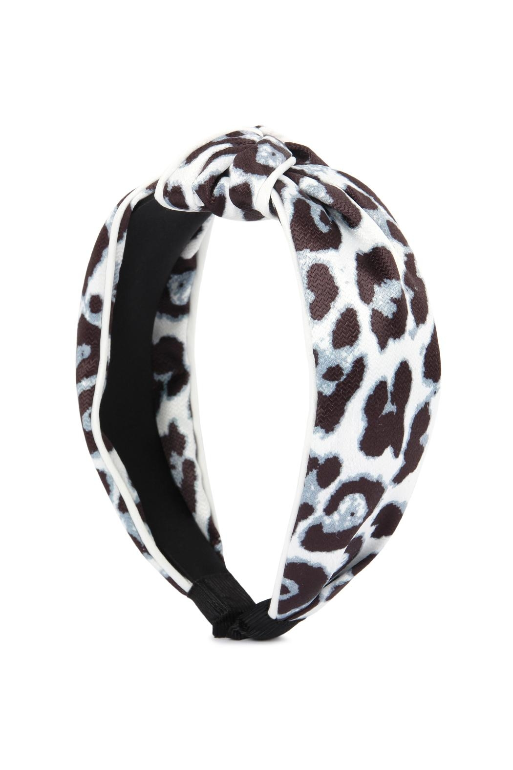 Riah Fashion Leopard Knotted Headband - Front Cropped Image