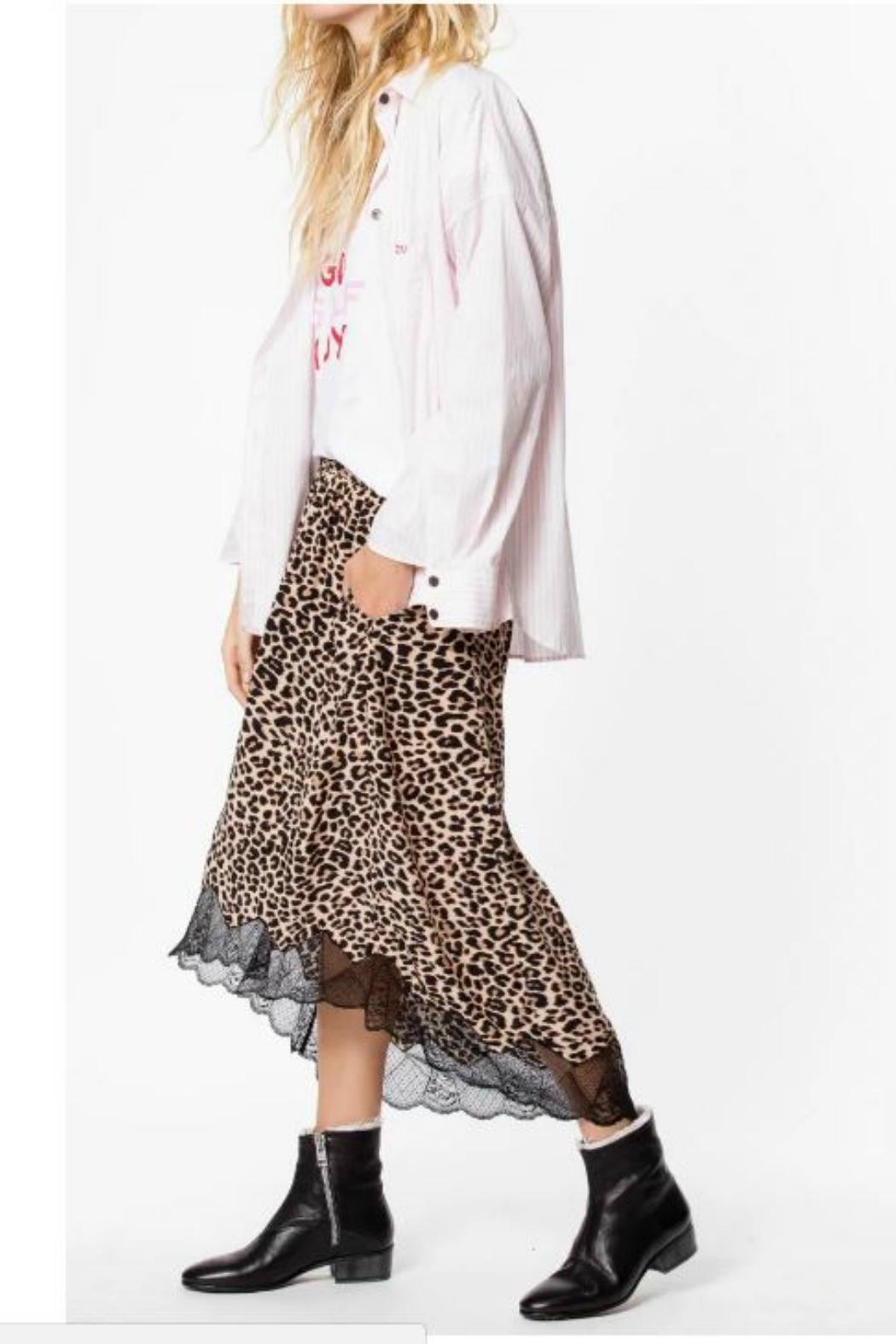 Zadig & Voltaire Leopard Lace-Trim Skirt - Front Full Image