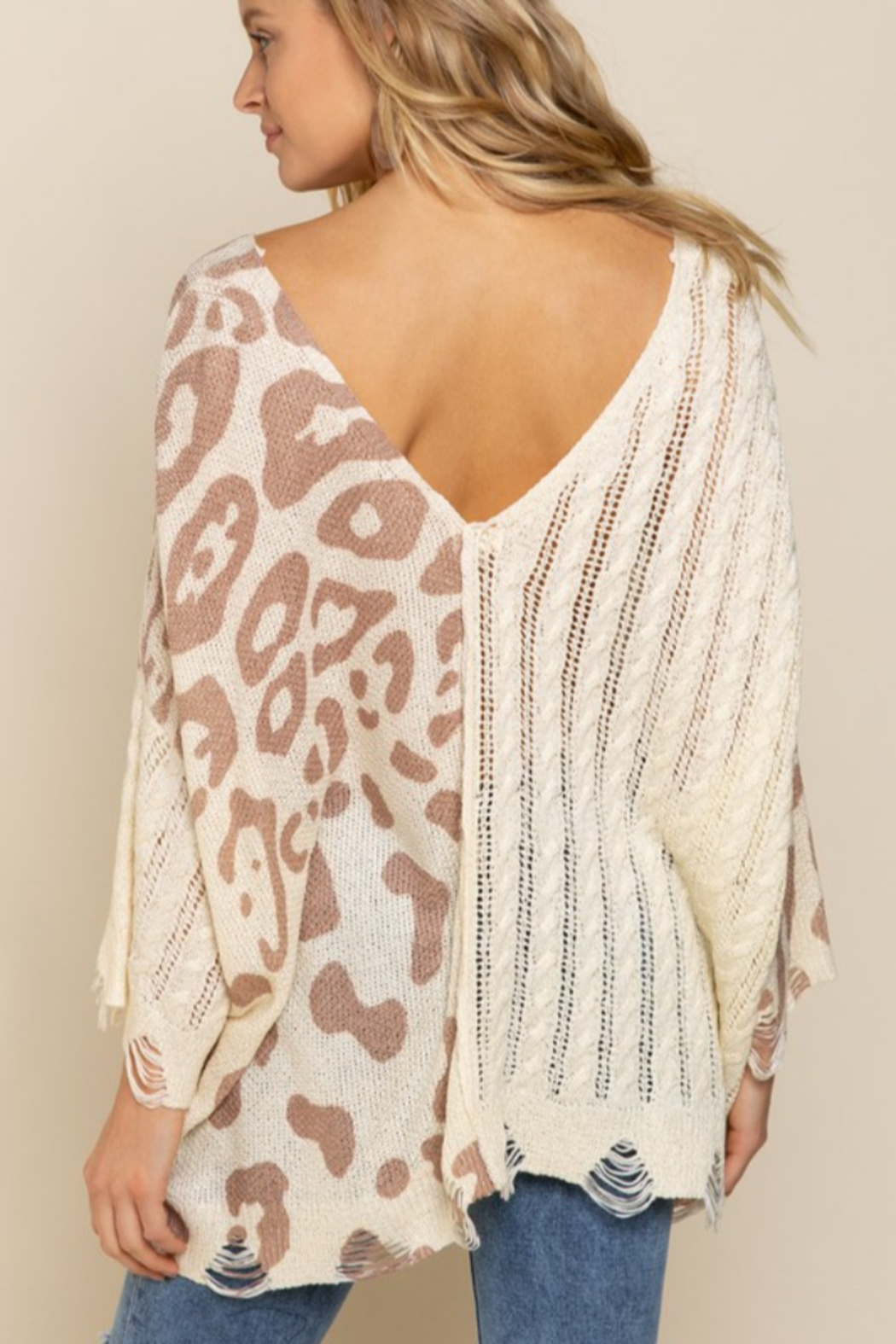 POL  Leopard Lightweight Distressed Sweater - Side Cropped Image