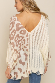 POL  Leopard Lightweight Distressed Sweater - Side cropped