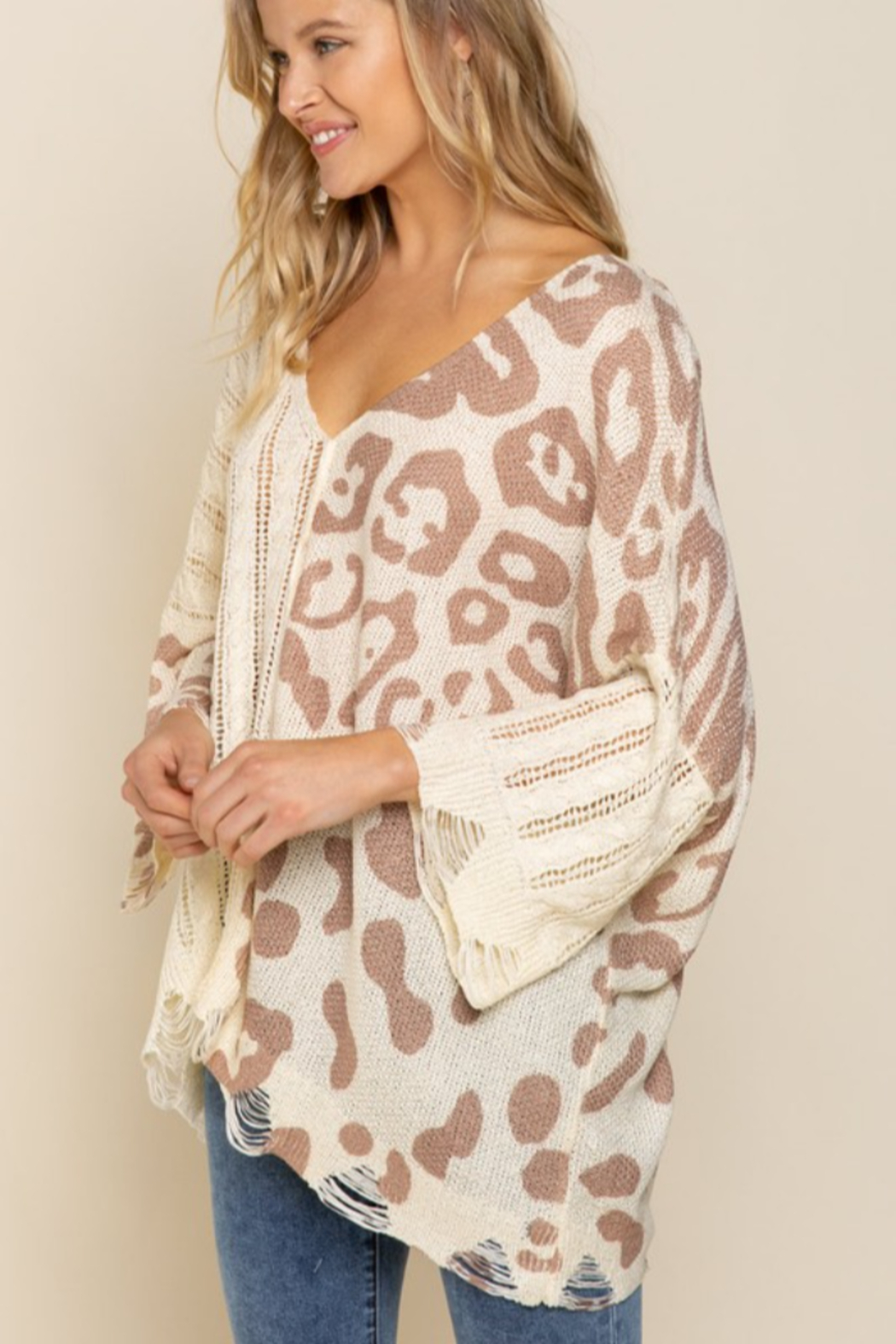 POL  Leopard Lightweight Distressed Sweater - Front Full Image