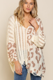 POL  Leopard Lightweight Distressed Sweater - Front cropped