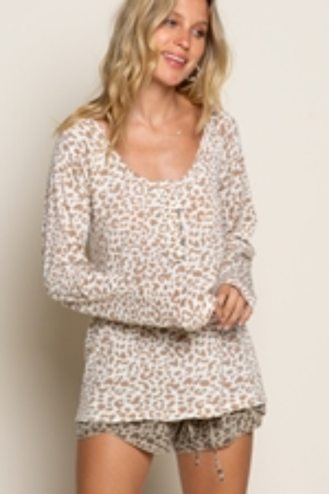 Pol Clothing Leopard Long Sleeve Knit Top - Main Image