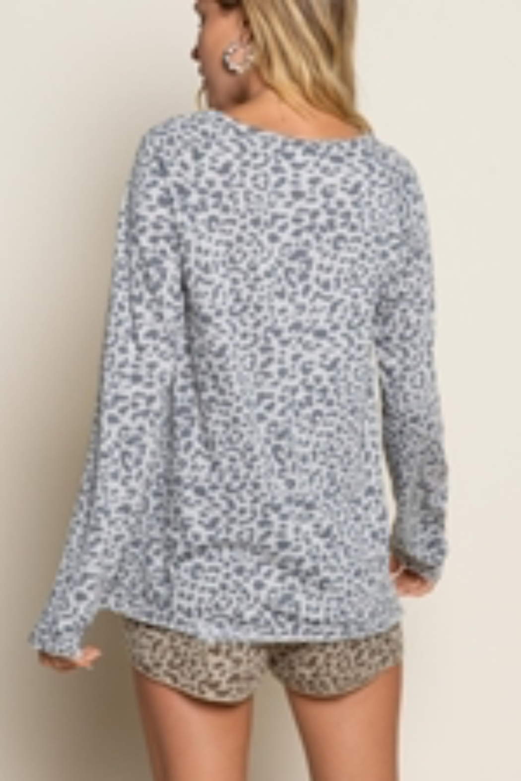 Pol Clothing Leopard Long Sleeve Knit Top - Front Full Image