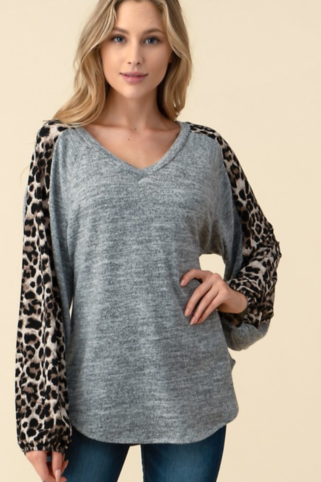 follow me  Leopard Long Sleeve Top - Main Image