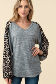 follow me  Leopard Long Sleeve Top - Front cropped